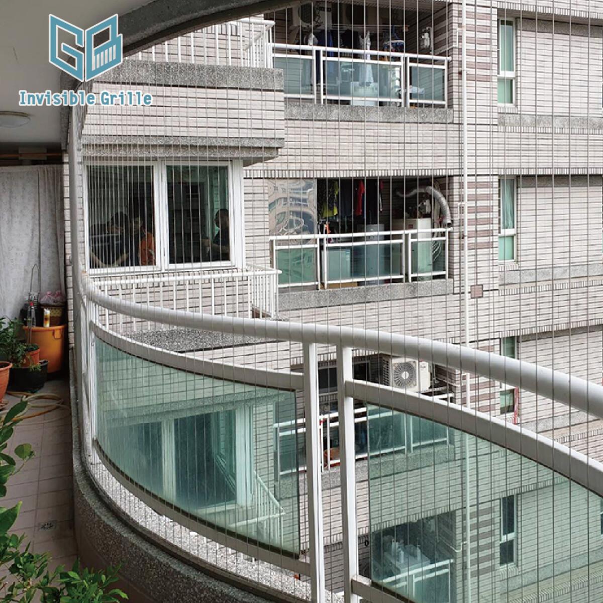 弧形陽台 台南隱形鐵窗